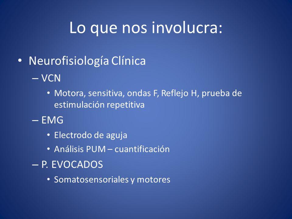 Lo que nos involucra: Neurofisiología Clínica VCN EMG P. EVOCADOS