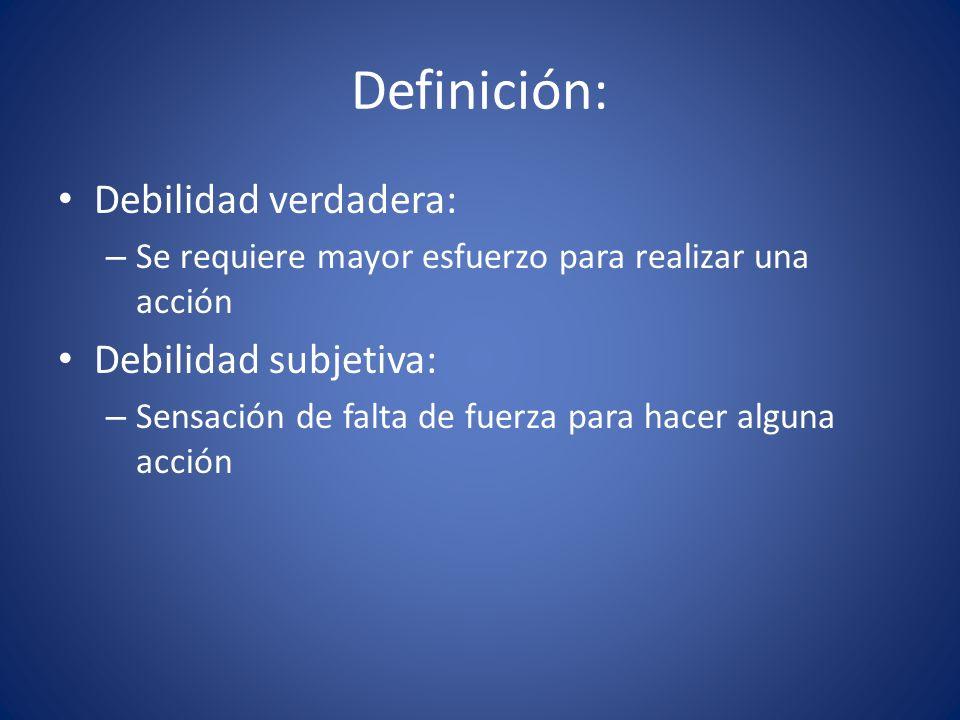 Definición: Debilidad verdadera: Debilidad subjetiva: