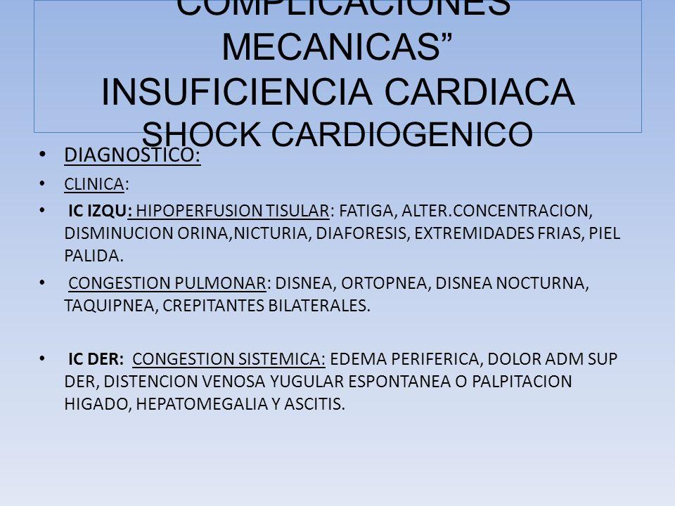 COMPLICACIONES MECANICAS INSUFICIENCIA CARDIACA SHOCK CARDIOGENICO