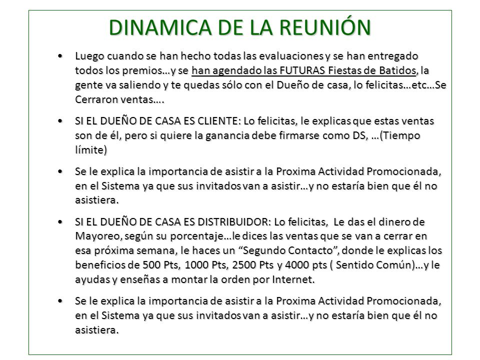 DINAMICA DE LA REUNIÓN