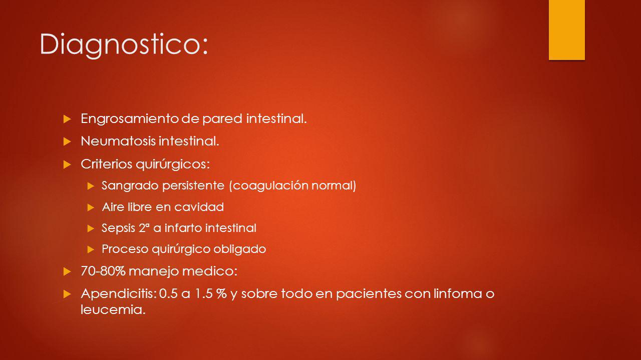 Diagnostico: Engrosamiento de pared intestinal. Neumatosis intestinal.