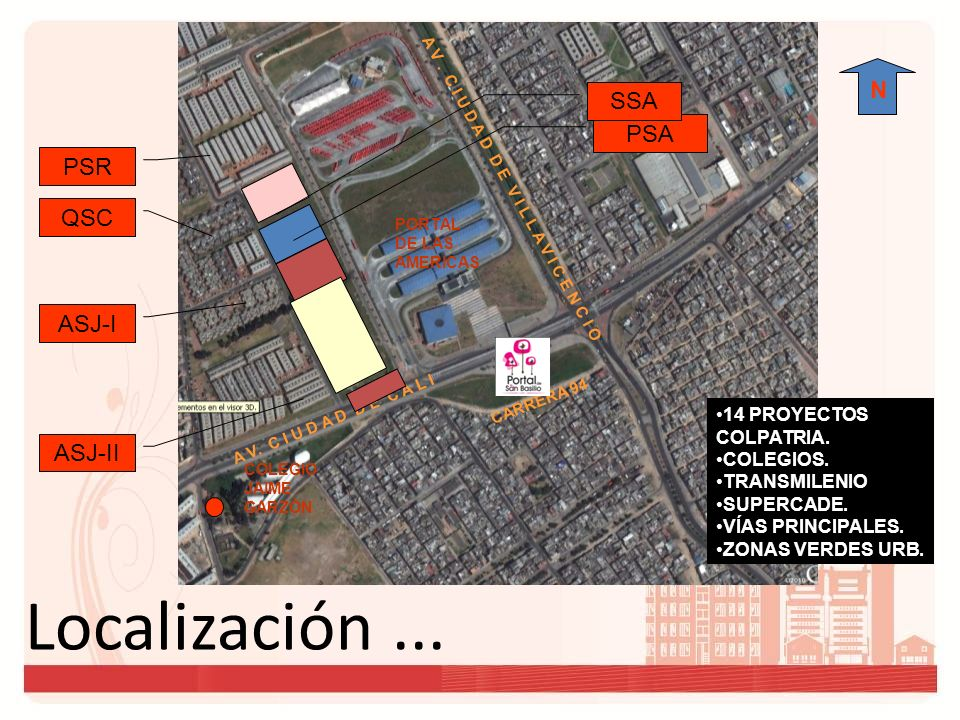 Localización ... N SSA PSA PSR QSC ASJ-I ASJ-II 14 PROYECTOS
