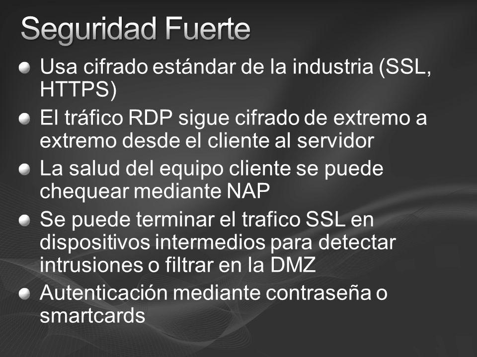 Seguridad Fuerte Usa cifrado estándar de la industria (SSL, HTTPS)