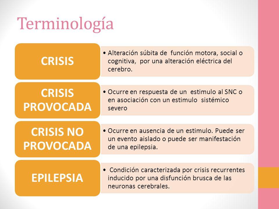 Terminología CRISIS CRISIS PROVOCADA CRISIS NO PROVOCADA EPILEPSIA