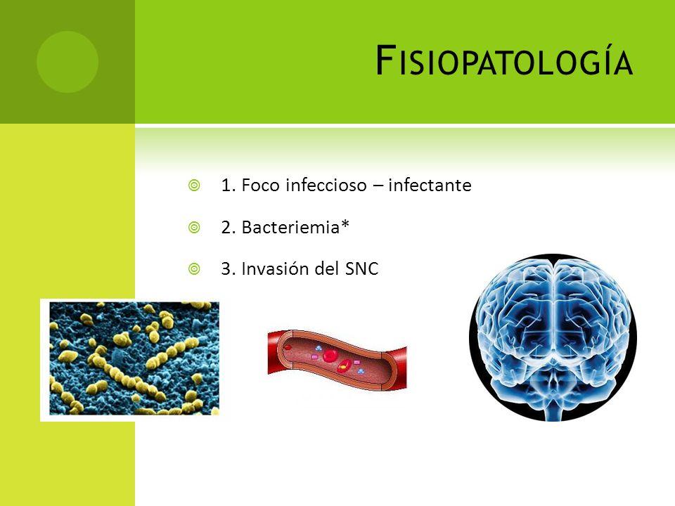 Fisiopatología 1. Foco infeccioso – infectante 2. Bacteriemia*