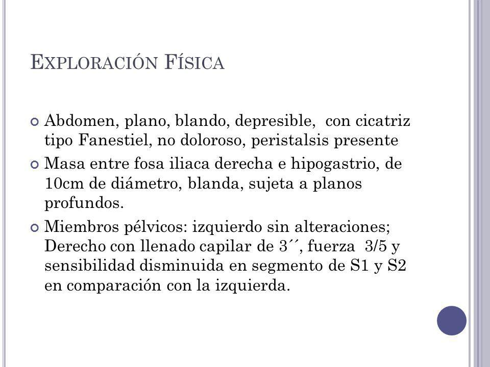 Exploración Física Abdomen, plano, blando, depresible, con cicatriz tipo Fanestiel, no doloroso, peristalsis presente.