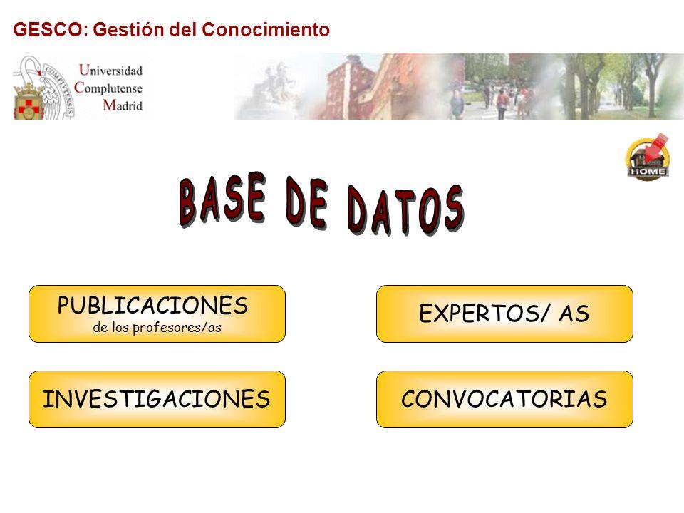 BASE DE DATOS PUBLICACIONES EXPERTOS/ AS INVESTIGACIONES CONVOCATORIAS