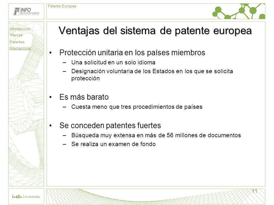 Ventajas del sistema de patente europea