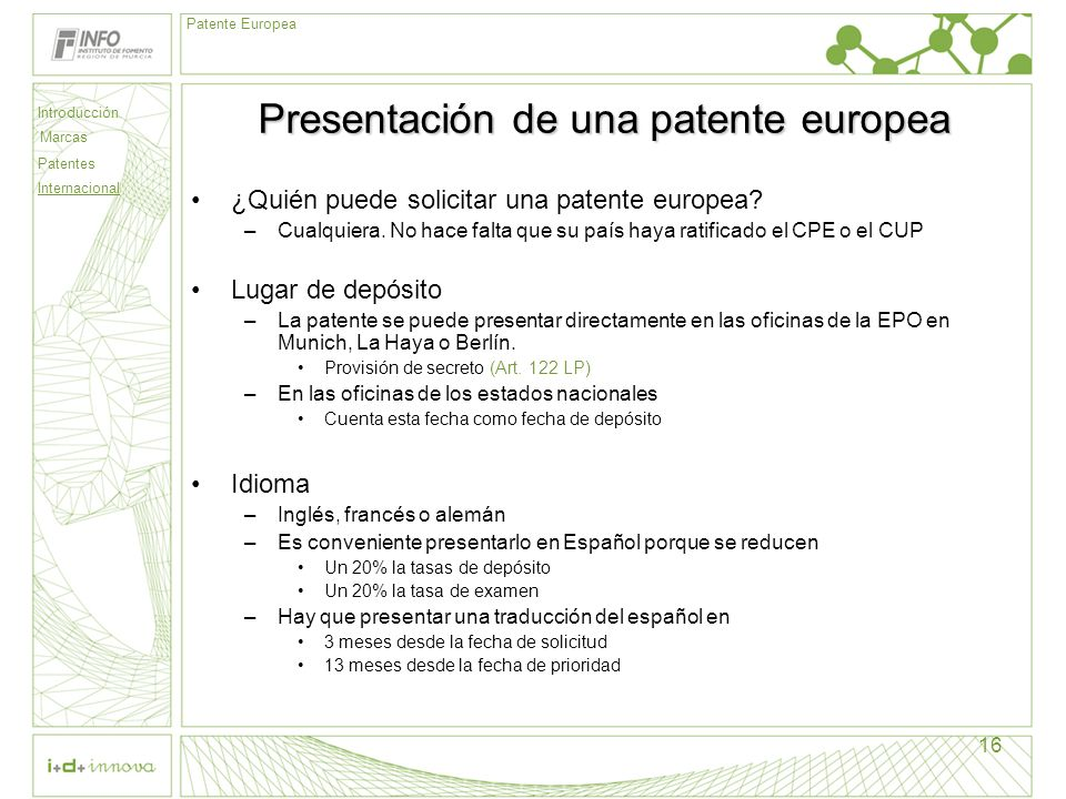 Presentación de una patente europea