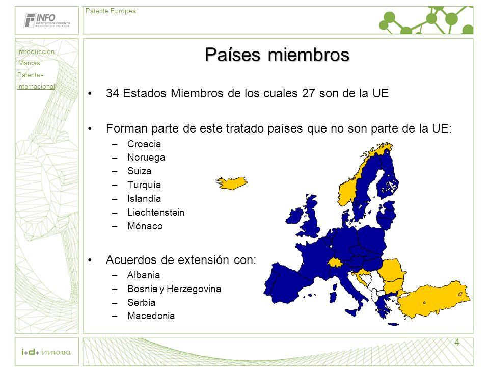 Países miembros 34 Estados Miembros de los cuales 27 son de la UE