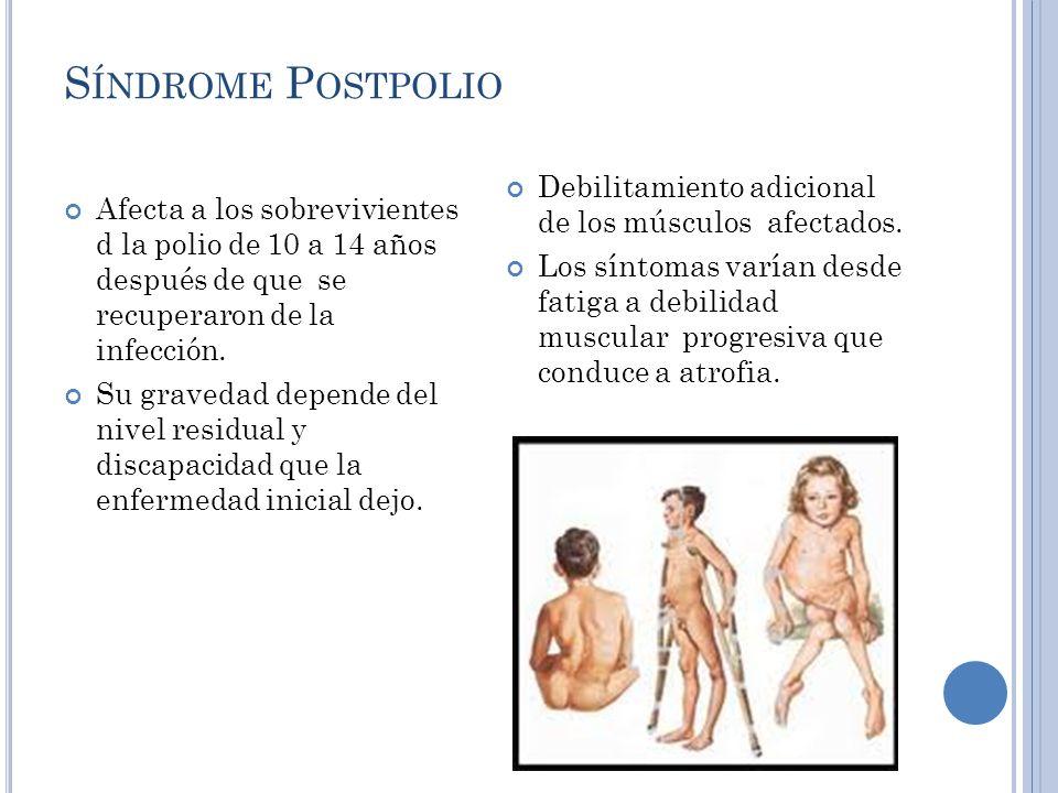 Síndrome Postpolio Debilitamiento adicional de los músculos afectados.