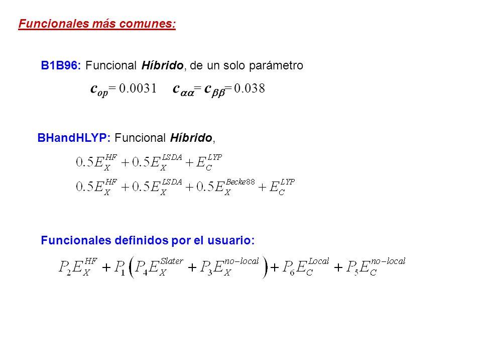 cop= 0.0031 caa= cbb= 0.038 Funcionales más comunes: