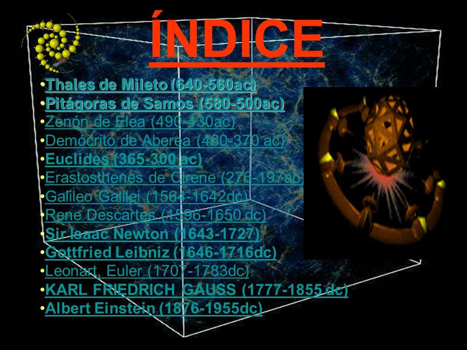 ÍNDICE Thales de Mileto (640-560ac) Pitágoras de Samos (580-500ac)