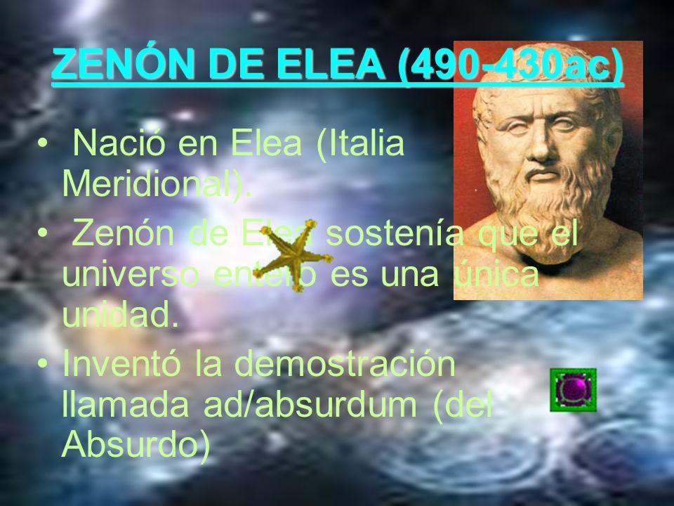 ZENÓN DE ELEA (490-430ac) Nació en Elea (Italia Meridional).
