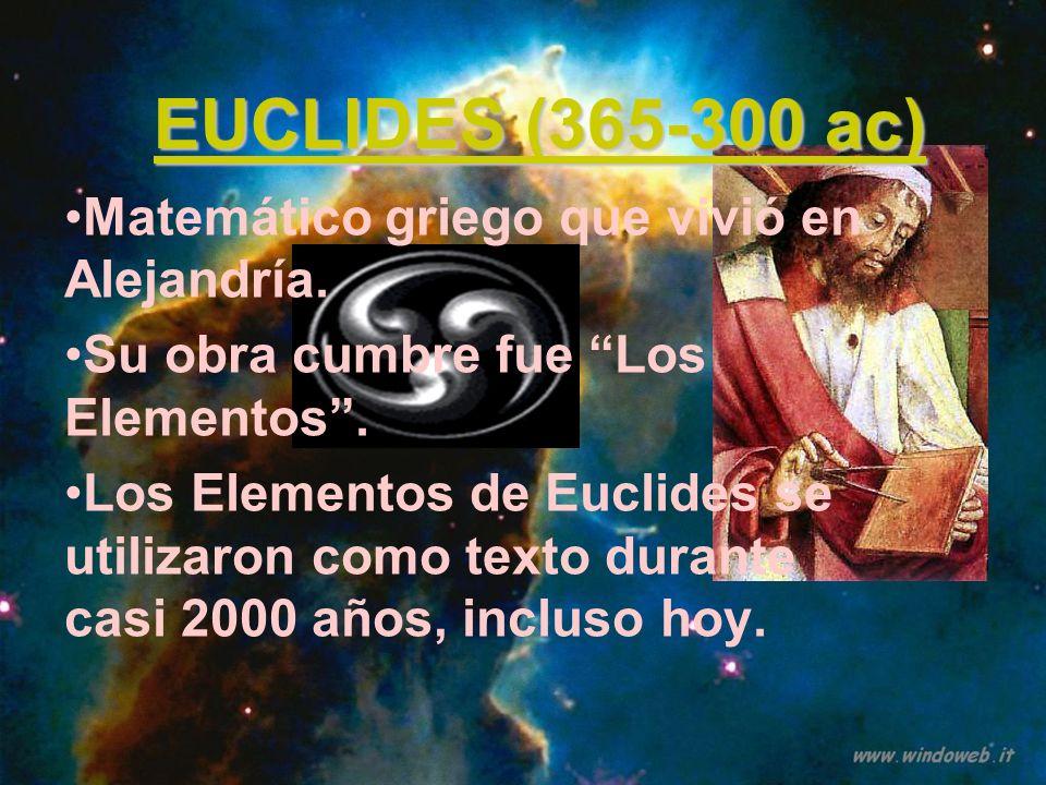 EUCLIDES (365-300 ac) Matemático griego que vivió en Alejandría.