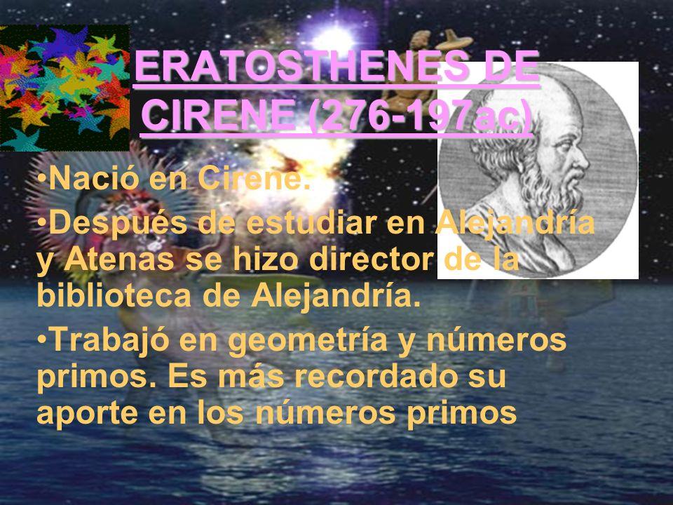 ERATOSTHENES DE CIRENE (276-197ac)