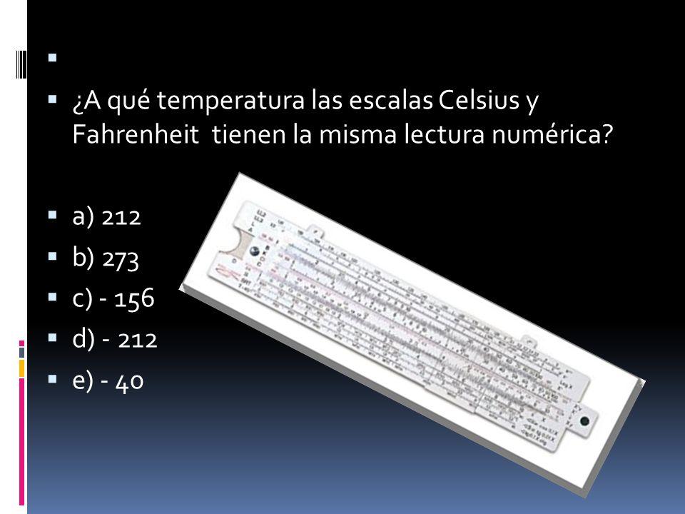 ¿A qué temperatura las escalas Celsius y Fahrenheit tienen la misma lectura numérica