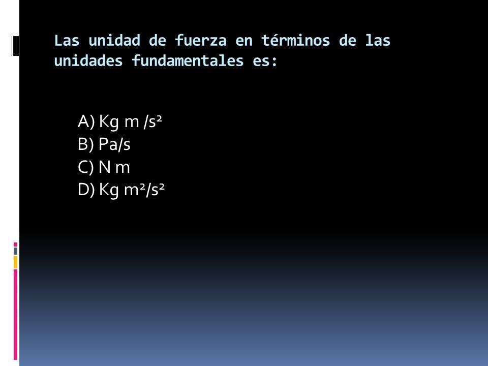 Las unidad de fuerza en términos de las unidades fundamentales es: