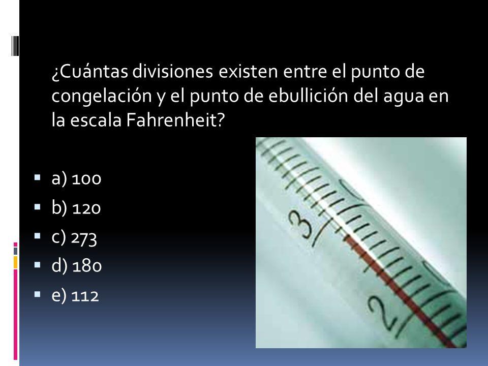 ¿Cuántas divisiones existen entre el punto de congelación y el punto de ebullición del agua en la escala Fahrenheit