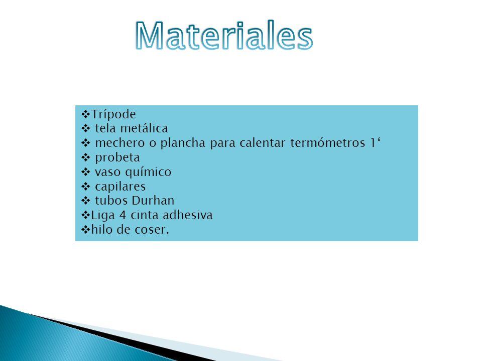 Materiales Trípode tela metálica