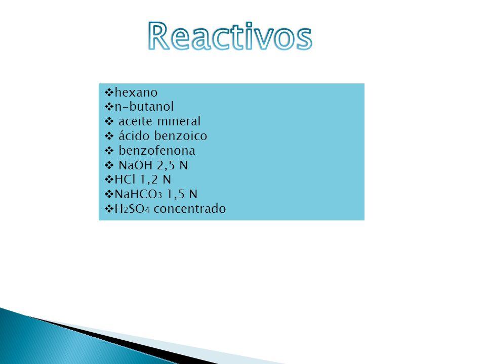 Reactivos hexano n-butanol aceite mineral ácido benzoico benzofenona