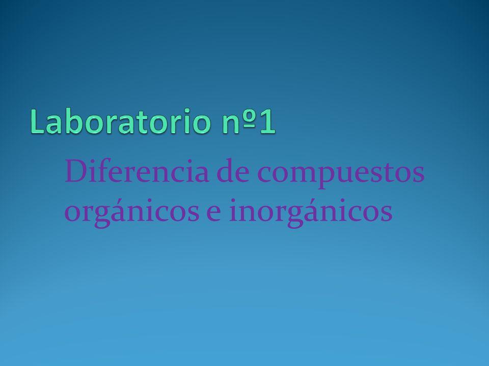 Laboratorio nº1 Diferencia de compuestos orgánicos e inorgánicos