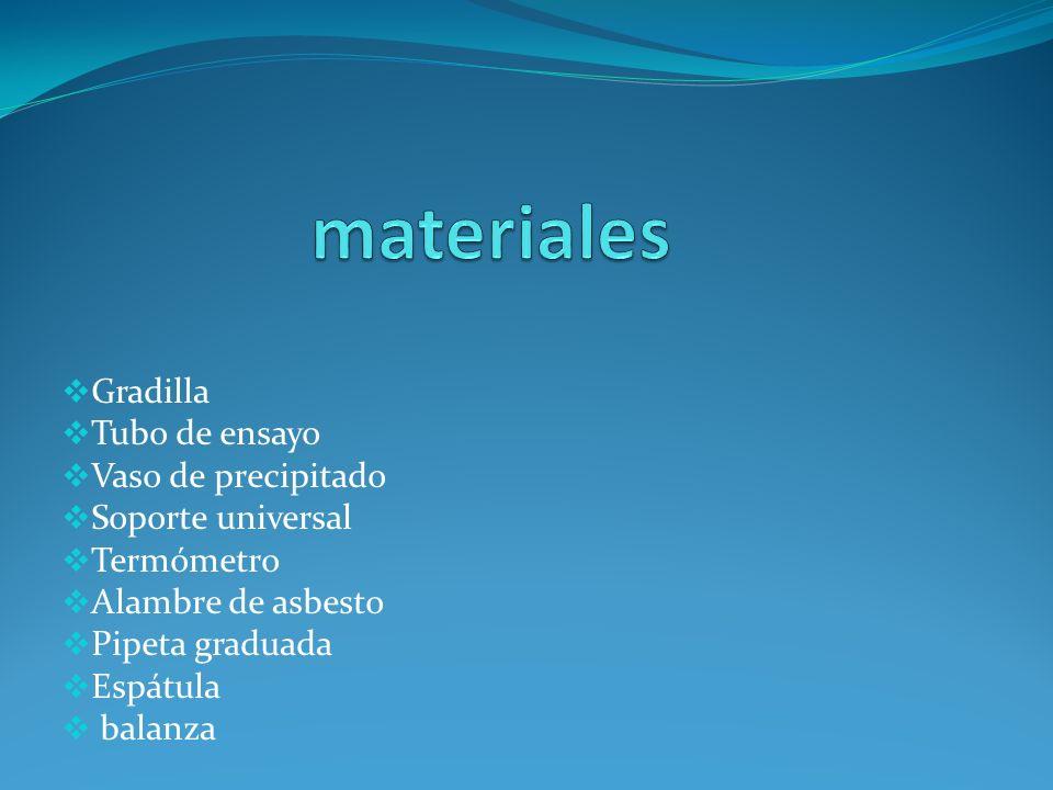 materiales Gradilla Tubo de ensayo Vaso de precipitado