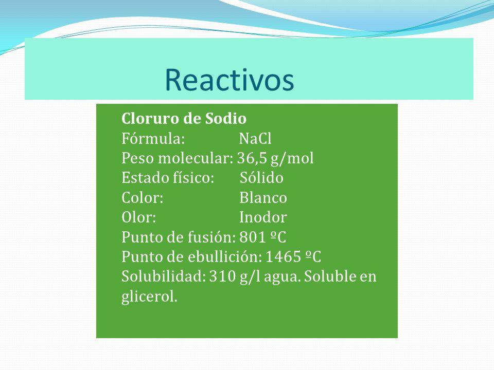 Reactivos Cloruro de Sodio Fórmula: NaCl Peso molecular: 36,5 g/mol