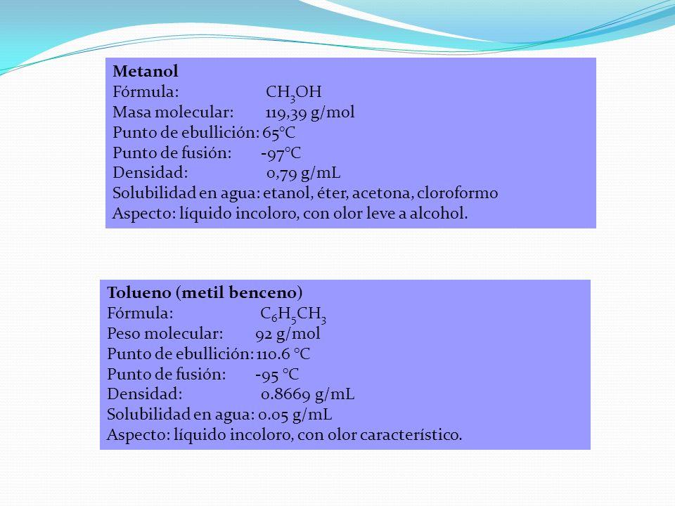 Metanol Fórmula: CH3OH. Masa molecular: 119,39 g/mol. Punto de ebullición: 65°C.
