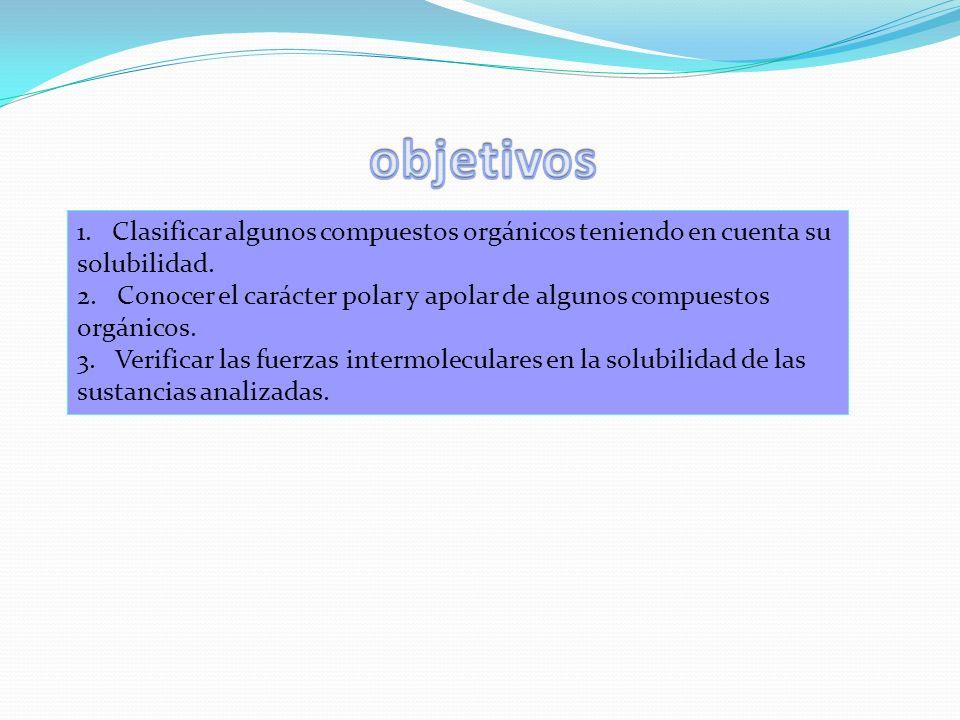 objetivos 1. Clasificar algunos compuestos orgánicos teniendo en cuenta su solubilidad.
