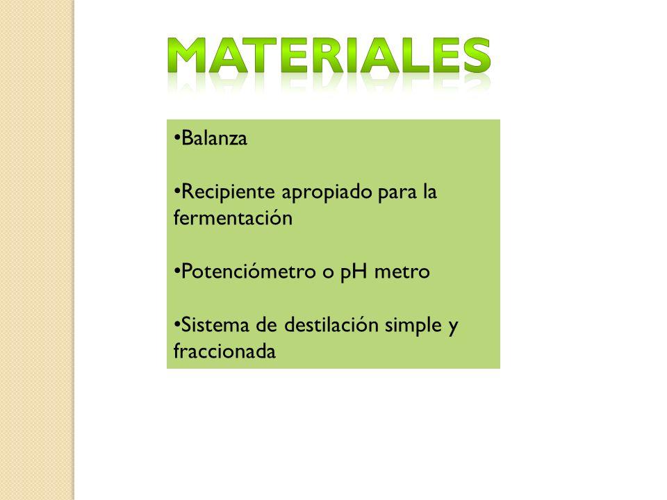 Materiales Balanza Recipiente apropiado para la fermentación
