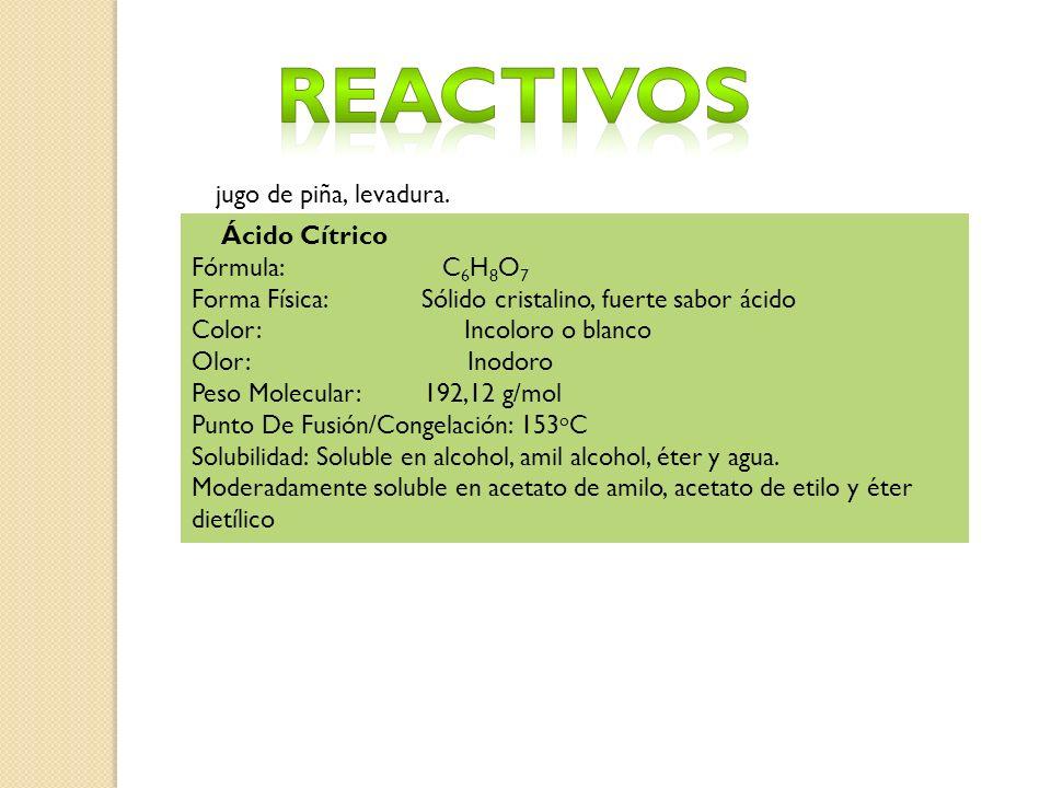 Reactivos jugo de piña, levadura. Ácido Cítrico Fórmula: C6H8O7