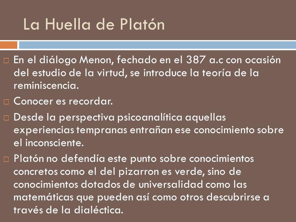 La Huella de Platón En el diálogo Menon, fechado en el 387 a.c con ocasión del estudio de la virtud, se introduce la teoría de la reminiscencia.