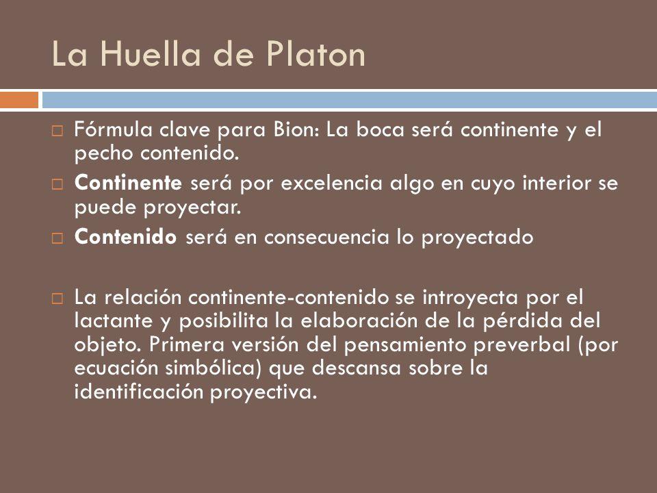 La Huella de Platon Fórmula clave para Bion: La boca será continente y el pecho contenido.