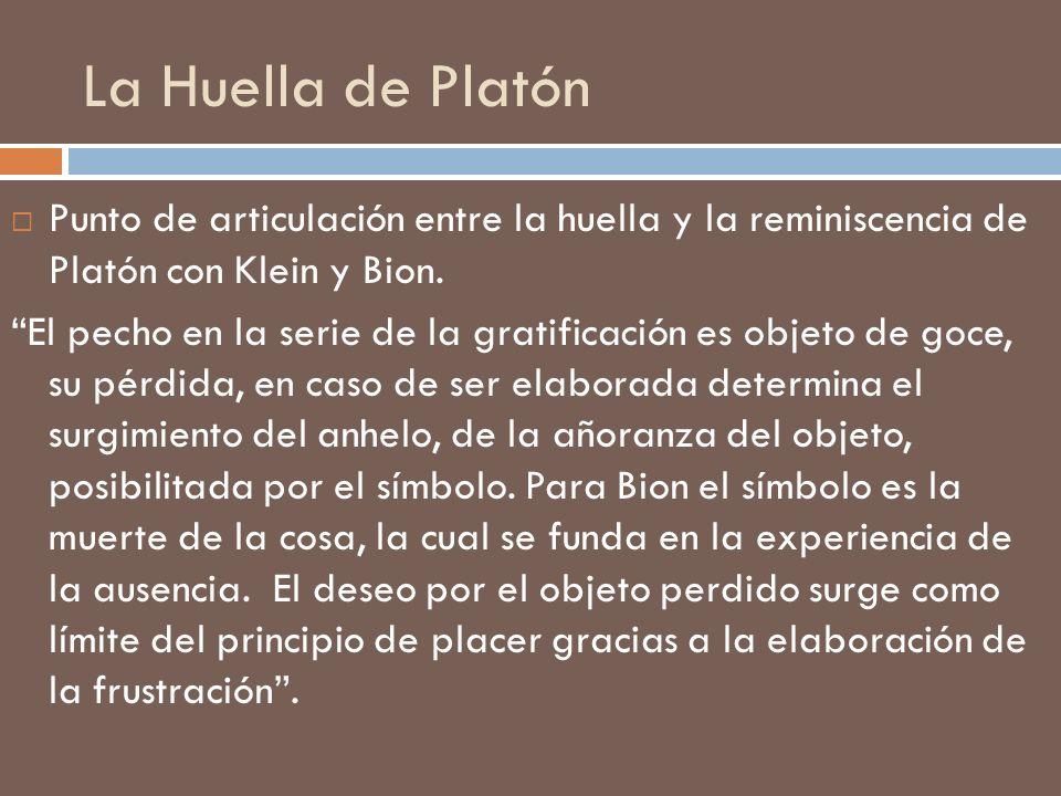 La Huella de Platón Punto de articulación entre la huella y la reminiscencia de Platón con Klein y Bion.