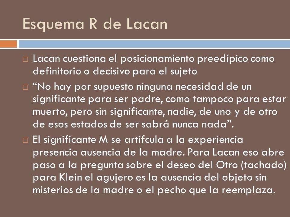 Esquema R de Lacan Lacan cuestiona el posicionamiento preedípico como definitorio o decisivo para el sujeto.