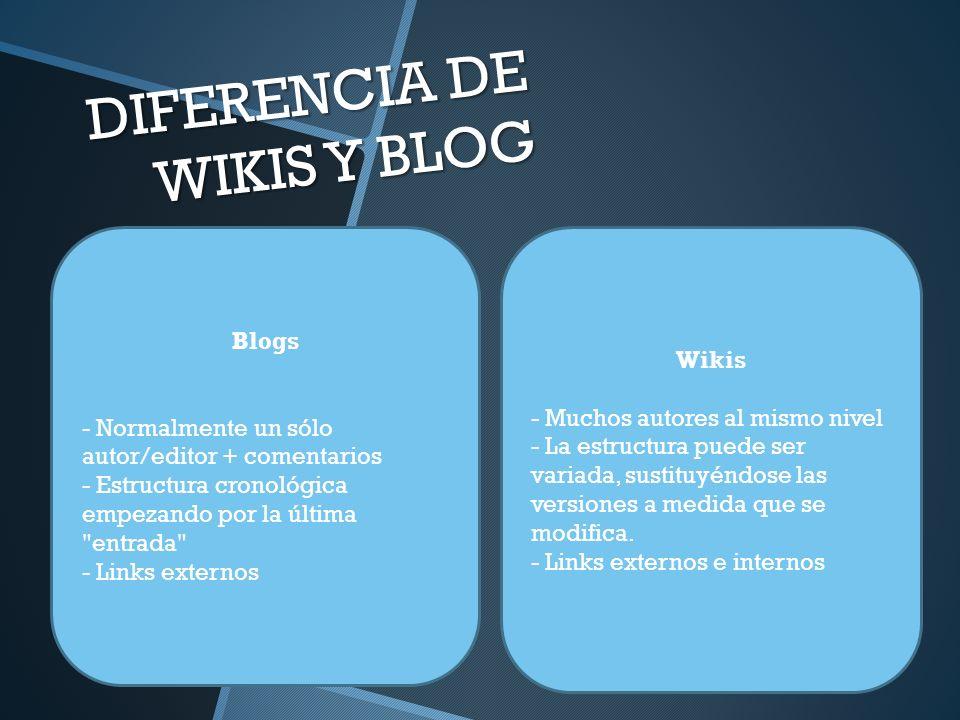 DIFERENCIA DE WIKIS Y BLOG