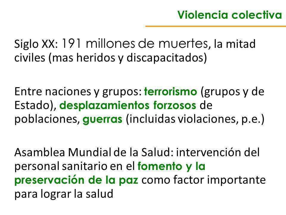 Violencia colectiva Siglo XX: 191 millones de muertes, la mitad civiles (mas heridos y discapacitados)