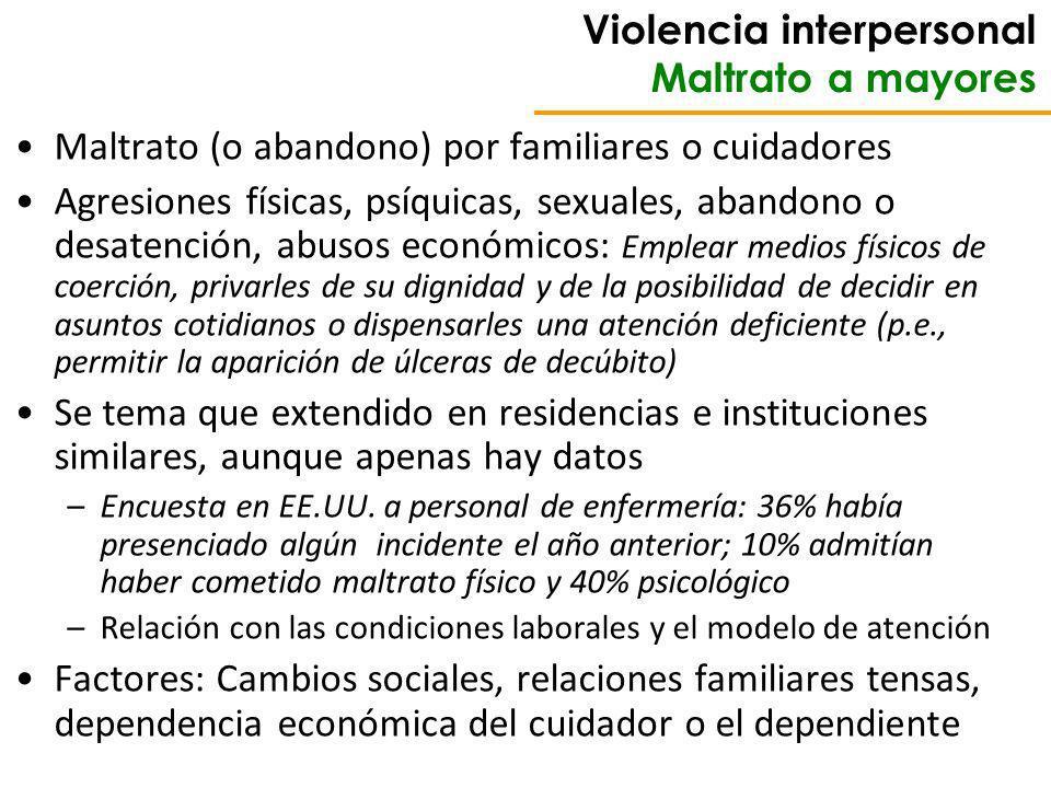 Violencia interpersonal Maltrato a mayores