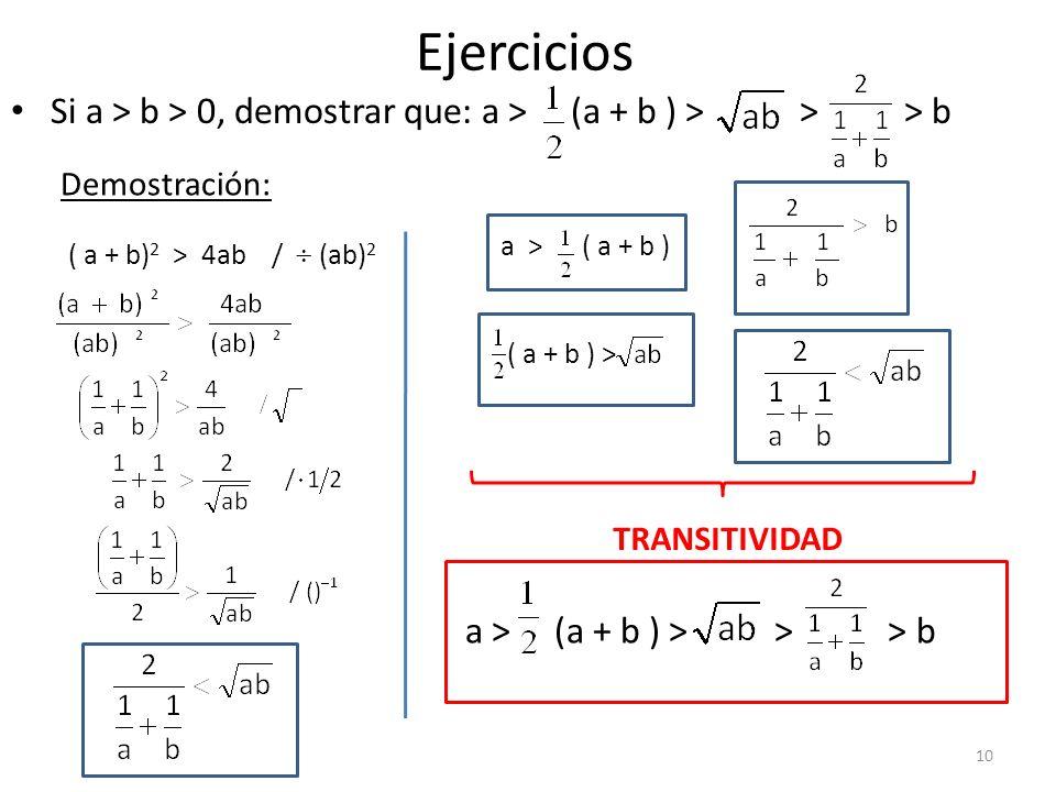 Ejercicios Si a > b > 0, demostrar que: a > (a + b ) > > > b. Demostración: