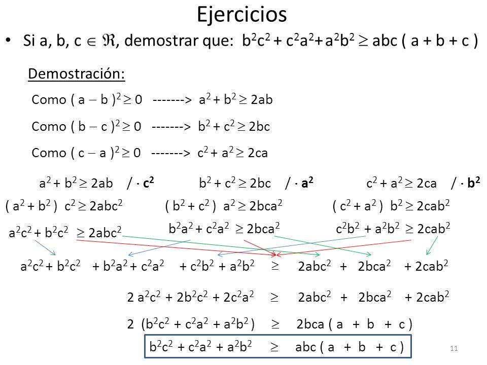 Ejercicios Si a, b, c  , demostrar que: b2c2 + c2a2+ a2b2  abc ( a + b + c ) Demostración: Como ( a  b )2  0 -------> a2 + b2  2ab.