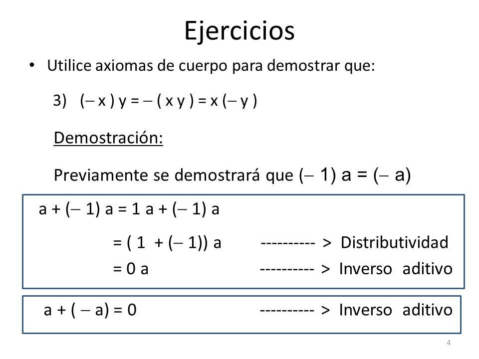 Ejercicios Demostración: Previamente se demostrará que ( 1) a = ( a)