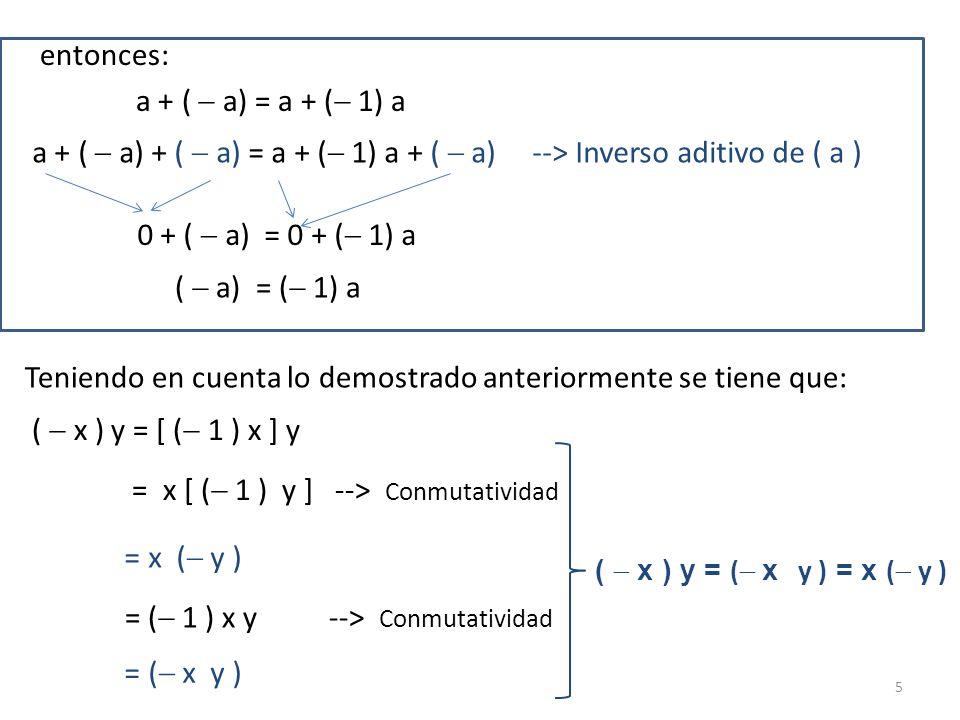 entonces: a + (  a) = a + ( 1) a