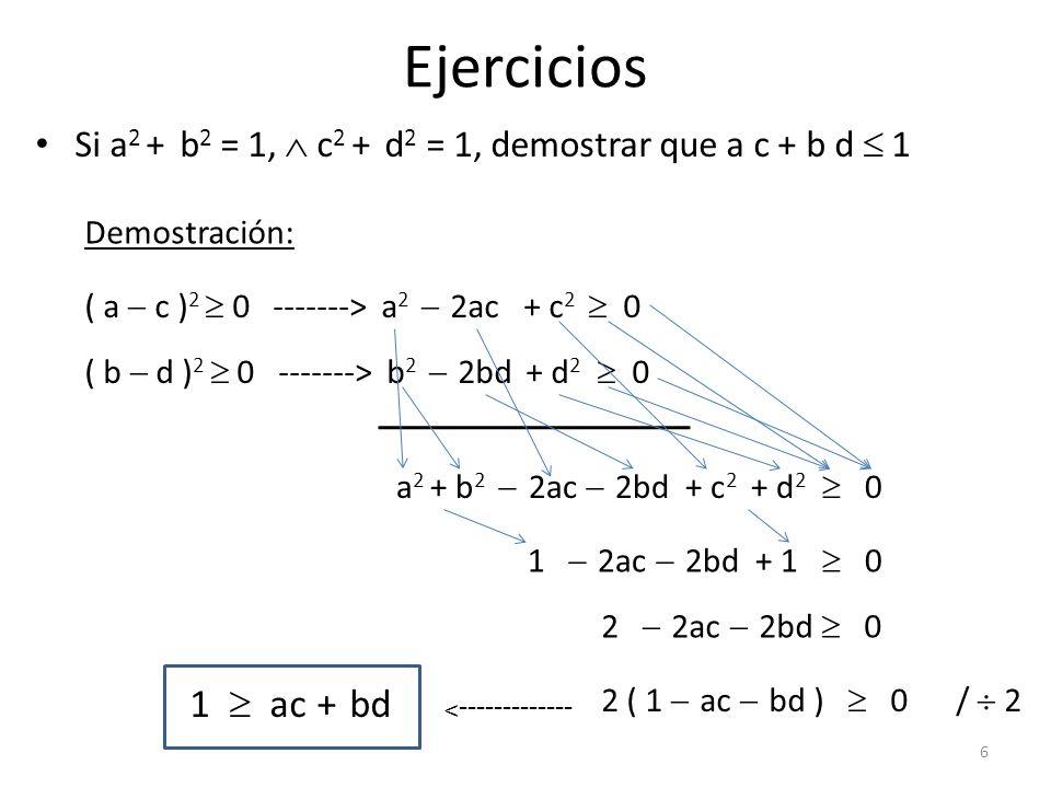Ejercicios Si a2 + b2 = 1,  c2 + d2 = 1, demostrar que a c + b d  1. Demostración: ( a  c )2  0 -------> a2  2ac + c2  0.