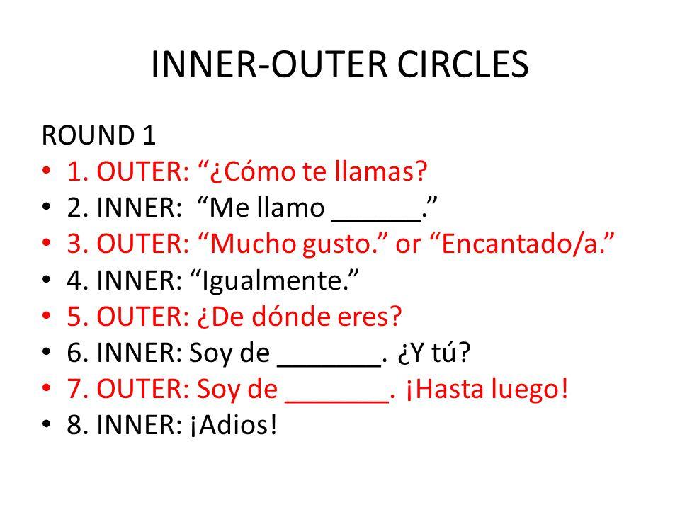 INNER-OUTER CIRCLES ROUND 1 1. OUTER: ¿Cómo te llamas