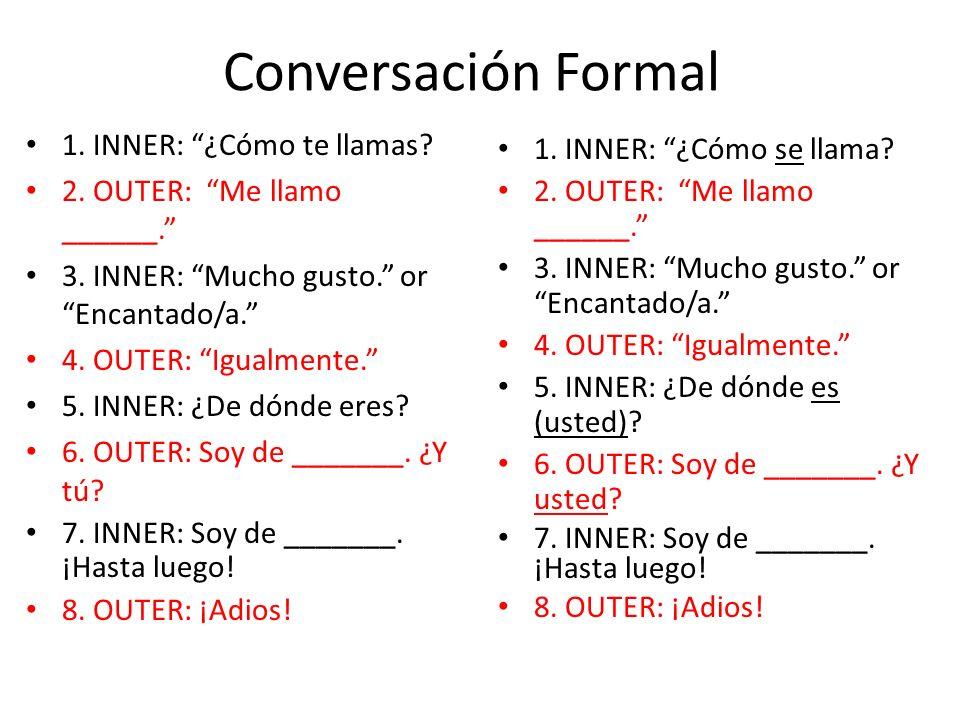 Conversación Formal 1. INNER: ¿Cómo te llamas