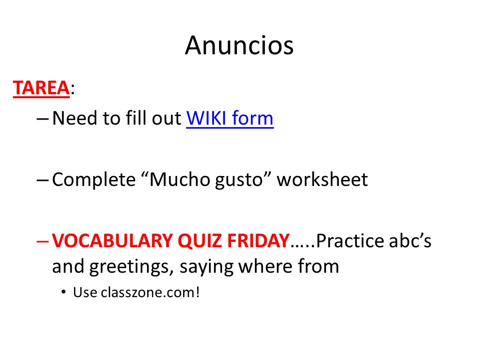 Anuncios TAREA: Need to fill out WIKI form