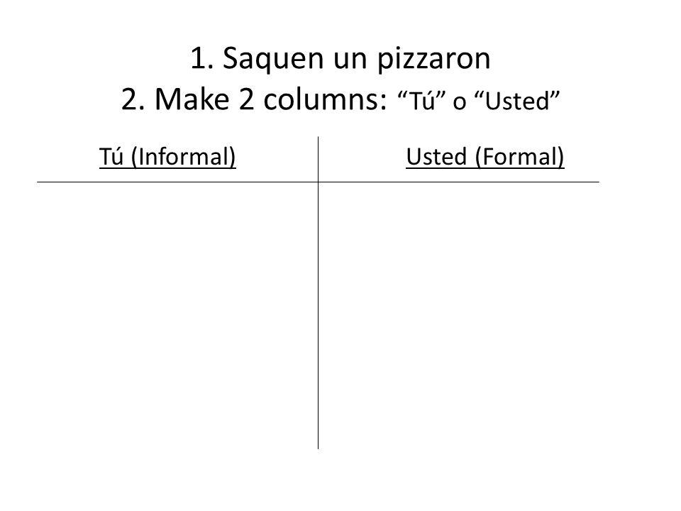 1. Saquen un pizzaron 2. Make 2 columns: Tú o Usted