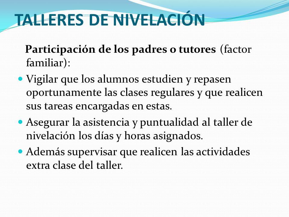 TALLERES DE NIVELACIÓN