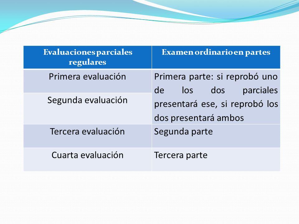Evaluaciones parciales regulares Examen ordinario en partes